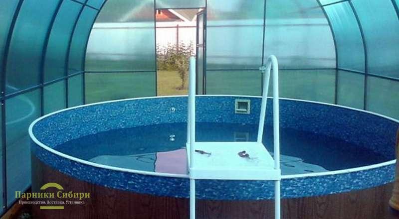 Небольшой круглый бассейн в теплице